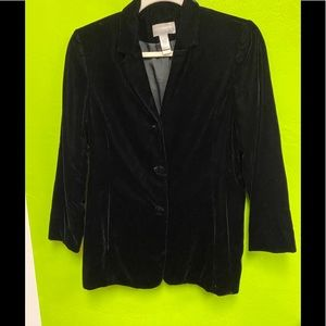 Liz Claiborne Black Velvet Jacket Lined Size 16